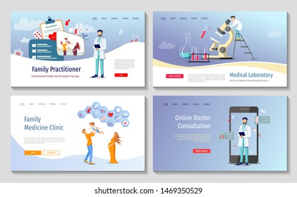 Set of web page design templates for Laboratory diagnostic, Family doctor, Online doctor consultation, Medicine clinic and health care. Vector illustration for poster, banner, website, presentation.