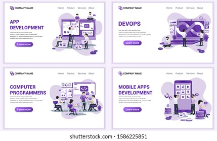 Set of web page design templates for mobile app development. Can use for web banner, poster, infographics, landing page, web template. Flat vector illustration