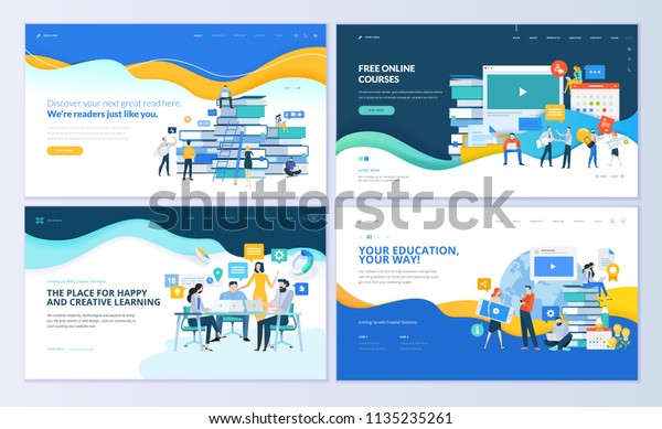 Set Web Page Design Templates Distance Stock Vector Royalty Free 1135235261
