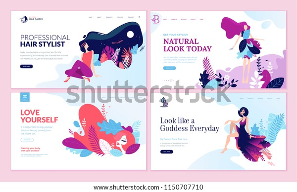 Set of web page design templates for beauty, spa, wellness, natural products, cosmetics, body care. Modern vector illustration concepts for website and mobile website development.