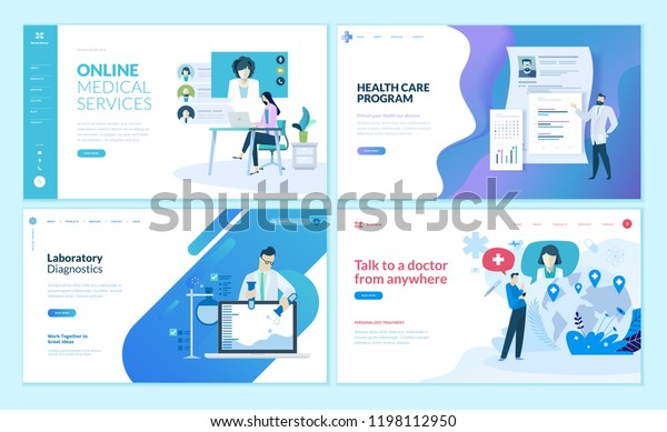 Set of web page design templates for online medical support, health care,  laboratory, medical services. Modern vector illustration concepts for website and mobile website development.