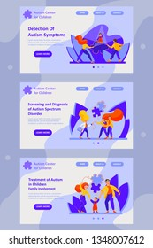 Set of web page templates for autism center, charitable foundation, public organization, support center for families and children with autism, private doctor. Vector flat illustration. Autism concept.