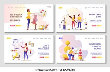 Set of web pages for Graphic designer or Digital illustrator, Interior designer, Landscape designer, Fashion designer. Vector illustration for banner, presentation, advertising, commercial, website.