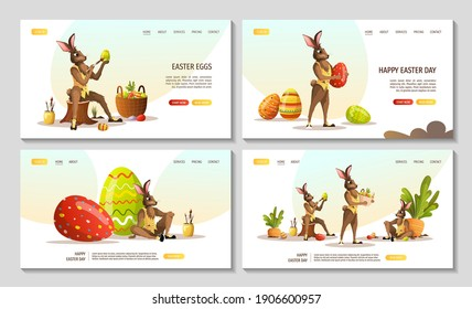 Set of web pages for Happy Easter with rabbits. Easter bunny, decorating eggs, carrot bed. Vector illustration for poster, banner, website.