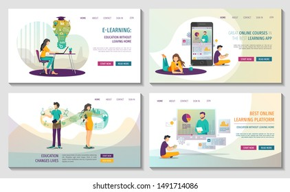 Set of Web pages for Online courses and trainings, Webinar, Distance education, E-learning, Knowledge, Mobile learning App. Vector illustration for poster, banner, presentation and website.