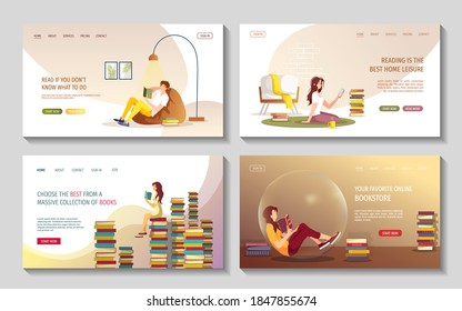 Set of web pages with reading people. Book lovers, E-book reader, Home leisure, Bookstore concept. Vector illustration for poster, banner, cover, website.