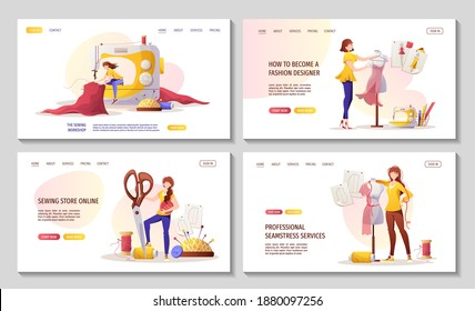 Set of web pages for sewing workshop or courses, seamstress, fashion design, tailoring, dressmaking. needlework, handicraft. Vector illustration for for banner, advertising, commercial, website.