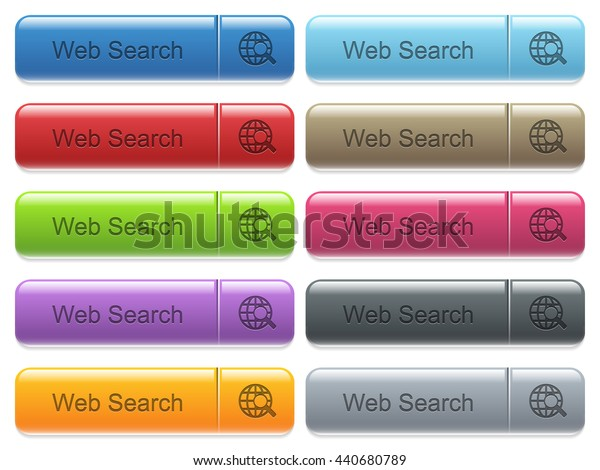 Set of web search glossy color captioned menu buttons with engraved icons