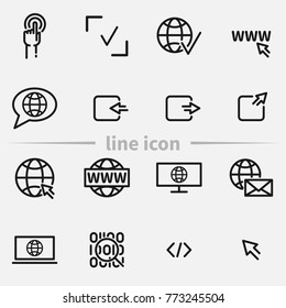 Set of web site vector thin line icons.