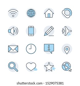 Set of Web Vector Line Icons. Contains such Icons as Globe, Wi-fi, Home, Heart, Phone, Pencil, Time Clock, Star and more. Editable Stroke. 32x32 Pixel Perfect