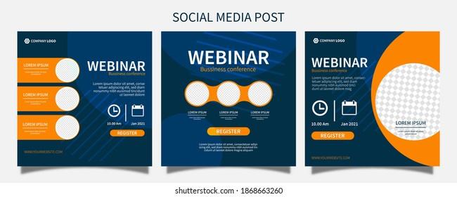 Set webinar social media post template concept design. online marketing promotion banner.