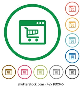 Set of webshop color round outlined flat icons on white background