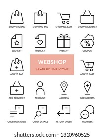 Set of Webshop related vector line icons. Contains icons such as Shopping Bag, Cart, Checkout, Shipping and more. 48x48px with editable stroke.