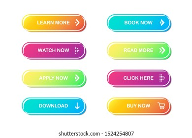 Set of website buttons. Vector illustration eps10