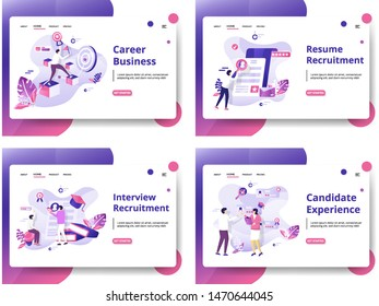 Set of website design templates for Candidate Experience, Interview Recruitment, Resume Recruitment, Career Business. modern vector illustration concepts for landing pages, social media, banners, web