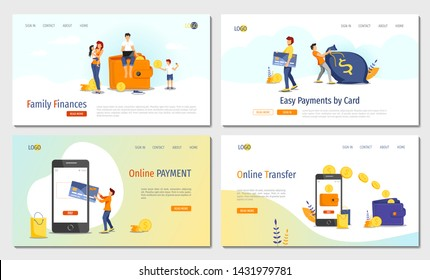 Set of website design templates for Family Finances, Capital, Profits and Savings, Online Payment, Transfer, Payment card. Vector illustration for poster, presentation, banner, website.