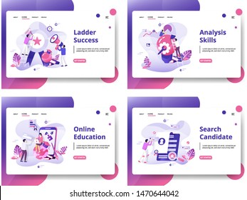 Set of website design templates for Search Candidate, Online Education, Analysis Skills, Ladder Success. modern vector illustration concepts for landing pages, social media, banners, web development.