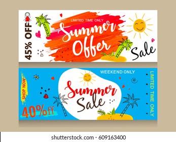 A Set of Website Header or Banner design for Summer Offer, Discount, Sale etc. with colorful Line Art based background.