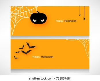 Happy Halloween Header calligraphy design with Scary Halloween Eye,Spider and Handmade vector lettering 3d Text Happy Halloween on yellow background for Halloween trick or treat party celebration