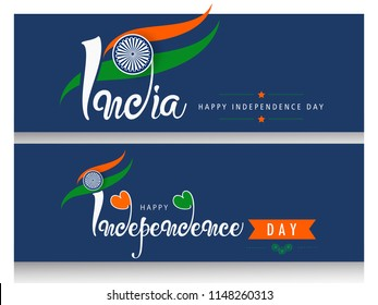 Set of Website Headers for India Independence Day, Creative Calligraphy on Dark Background.