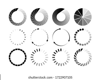 Set of website loading black icon isolated on white background. Download or upload status icon. Vector illustration.