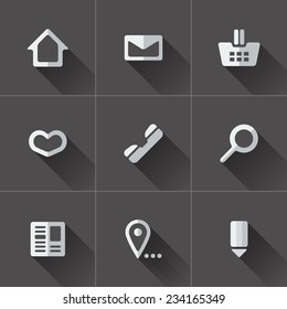 Set of website menu icons. Flat design in black and white