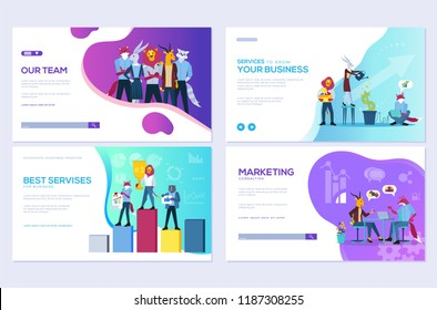 Set of website and mobile website development cards. Customize vector illustration templates for business, finance and marketing. Modern web page design