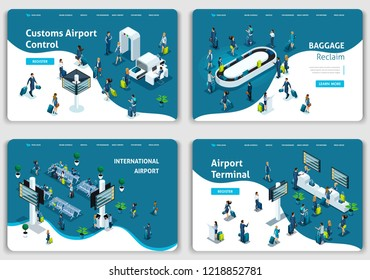 Set of Website templates, Concept Airport, lounge, baggage claim, terminal, passengers. Vector illustration concepts for website.