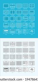 Set of website wireframes