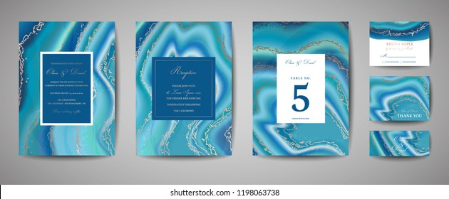 Set of wedding agate geode template cards, save the date invitation, artistic cover design, colorful marble texture, realistic backgrounds. Trendy pattern, geometric brochure, graphic poster. Vector