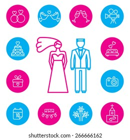 Set of wedding, bride and groom flat icons. Dove and suit, fashion and ceremony, married and newlyweds. Vector illustration