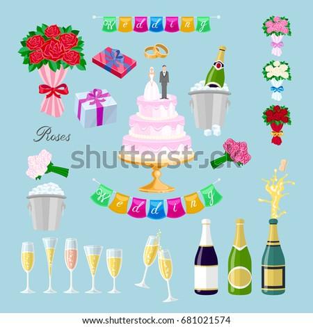 Set Wedding Cake Couple Vector Newlyweds Stock Vector Royalty Free