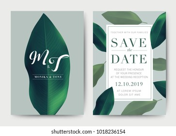 Set of Wedding Card template Background. For Invitation, menu, rsvp, thank you, Decoration with leaf & floral flower summer tropical watercolor style. Vector illustration.