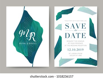 Set of Wedding Card template Background. For Invitation, menu, rsve, thank you, Decoration with leaf & floral flower summer tropical watercolor style. Vector illustration.