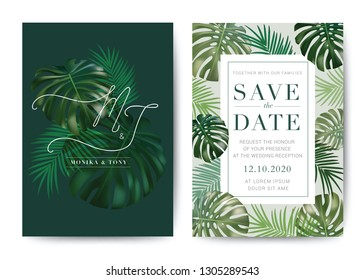 Set of Wedding Card template Background. For Invitation, menu, rsvn, thank you, Decoration with leaf & floral flower summer tropical watercolor style. Vector illustration.\n