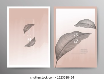 Set of Wedding Card template Background. For Invitation, menu, Decoration with leaf. Summer tropical pink and rose wine watercolor style. Vector illustration.\r