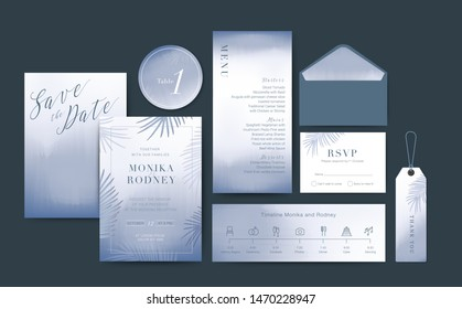 Set of Wedding Card template Background. For Invitation, menu, rsvp, thank you, Decoration with leaf & floral flower watercolor style. Timeline with icon thin style. Vector illustration.