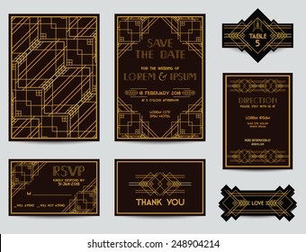 Set of Wedding Cards - Art Deco Vintage Style - in vector
