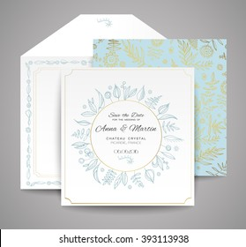 Set of wedding cards. Floral invitation, thank you card, save the date card. Templates for your design.