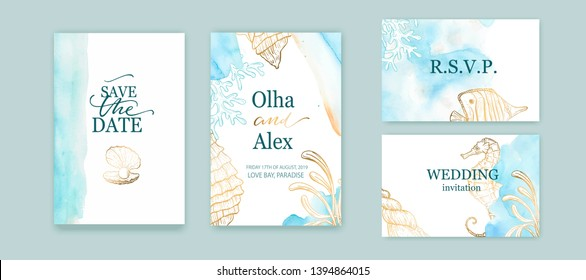 Set of wedding cards, invitation. Save the date sea style design. Blue watercolor wash.  Summer background. Hand drawn seashells with golden texture.