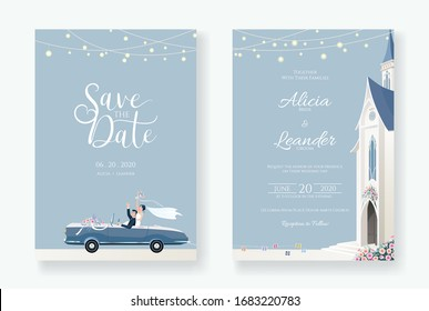 Set of wedding cards, Invitation, save the date template. Newlywed couple is driving a convertible, after Church ceremony image. Vector.