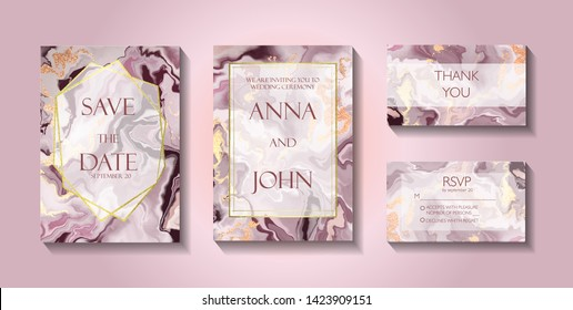 Set of wedding cards, invitatoin, RSVP and Thank You card. Gold, pink  marble,  stone, granite texture. Trendy minimalistic style. Vector poster, cover