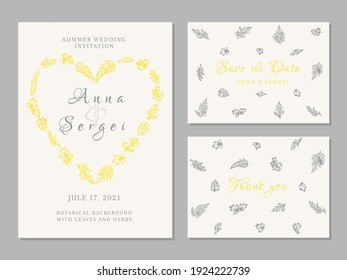 Set of wedding cards with leaves. Botanical vector illustration. Invitation, save the date, thank you card. Gray and yellow background. Heart label. Print in a linear graphic style.