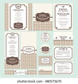 Set of wedding cards vector illustration