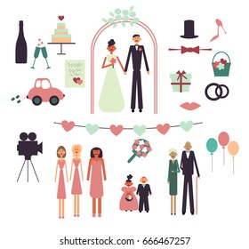 Set of wedding concept design elements in flat style. Icons isolated on white background. Vector illustration.