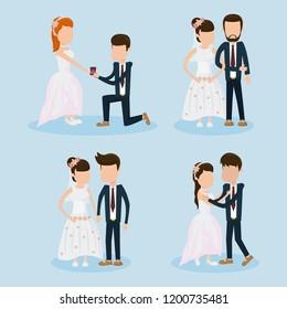 Set of wedding couple