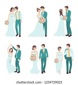 Set of Wedding Couple, couple in love for valentine's day, holidays, celebrating marriage, people cartoon character flat vector design isolated on white background.