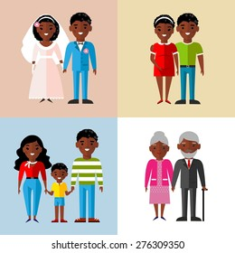 Set of wedding couple, pregnant parents, grandparent, young family  Set of African-American family, wedding, pregnant, old