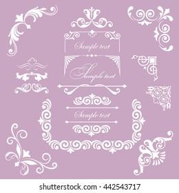 Set of Wedding Design Elements Decorative Floral Ornaments Swirls, Scrolls. Vintage Vector Illustration