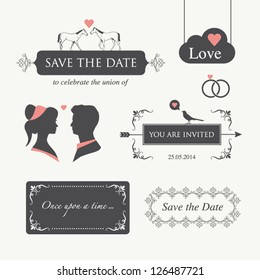 set of wedding design illustration elements and ornaments, editable. Wedding invitation card, valentines day card, happy birthday card